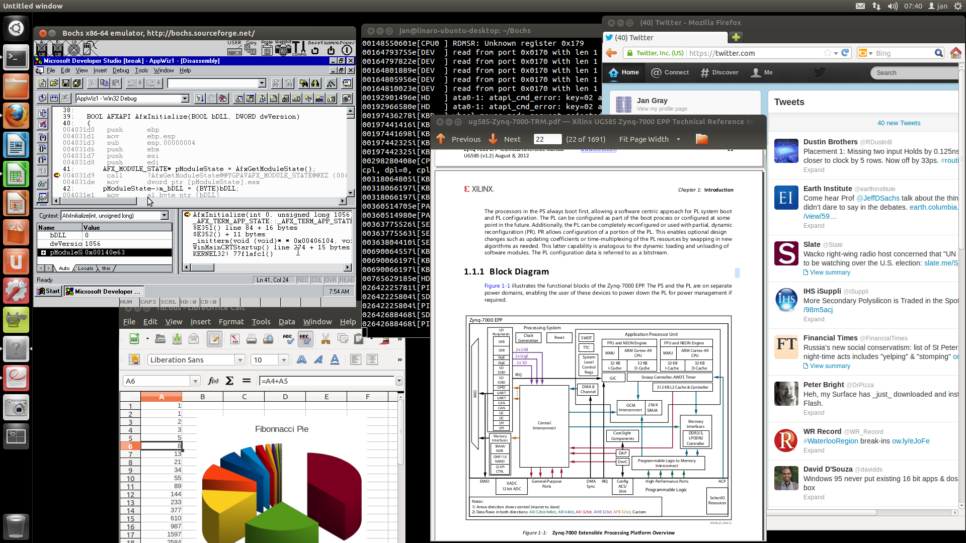 Visual C++ on Windows NT on Bochs on Linaro Ubuntu Linux on Xilinx Zynq on ZedBoard