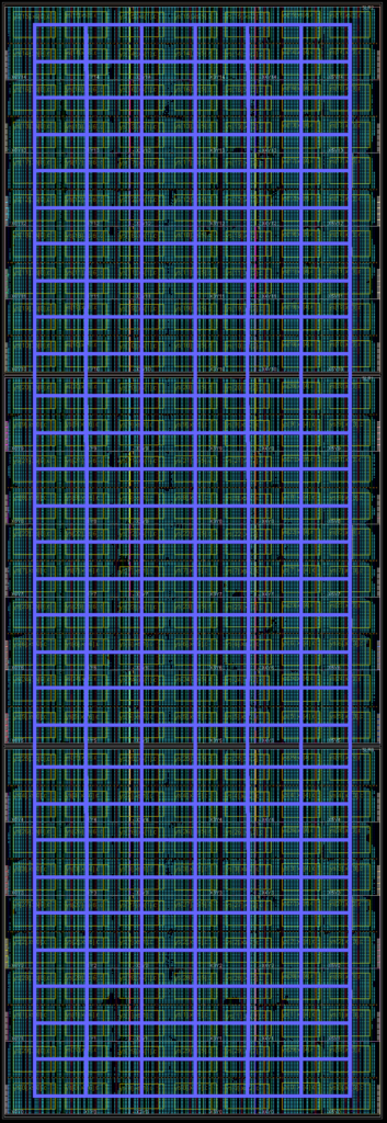 An example 1680 GRVI system implemented in a Xilinx Virtex UltraScale+ VU9P. This GRVI Phalanx comprises NX=7 x NY=30 = 210 clusters, each cluster with 8 GRVI cores, an 8-ported 128 KB cluster shared memory, and a 300b Hoplite NOC router.
